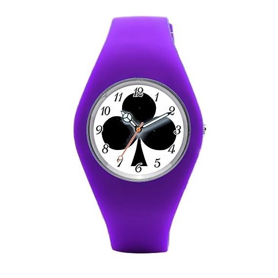 Para mujer de goma relojes juego Poker barato reloj de pulsera: Amazon.es: Relojes