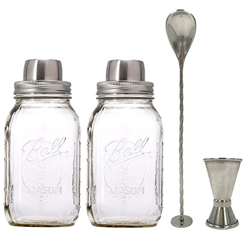 CHBKT 2 Piece 16 Oz Mason Jar and Stainless Steel Cocktail Shaker Set, Mason Jar Shaker Lid with Silicone Seals for Regular Mouth Mason, Ball, Canning Jars, Stainless Steel Jigger and Muddler