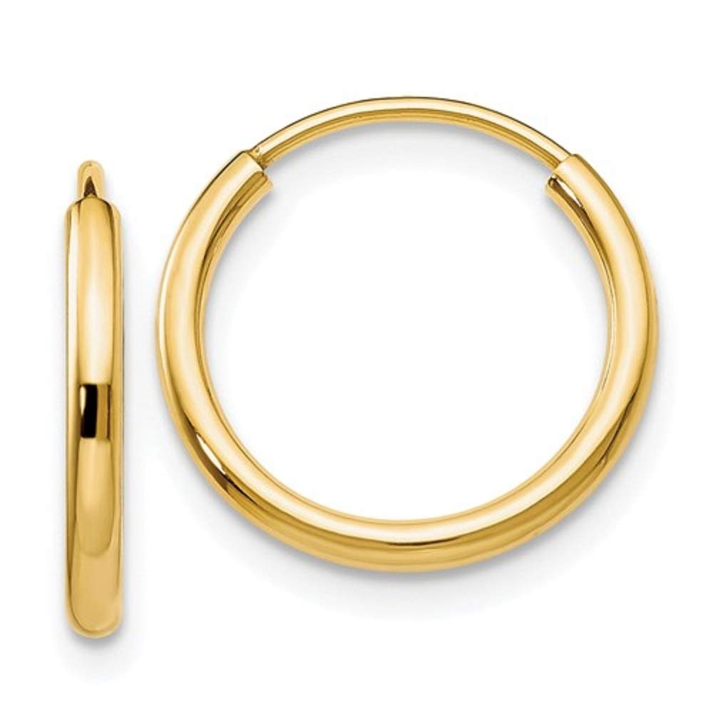 14k Yellow Gold Small Continuous Endless Hoop Earrings, (1.5mm Tube) (13mm)