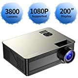 Projector 1080P Supported, 3800 LUX True Full HD Projector Video Projector, PONER SAUND M5 Business PPT Presentations Home Theater Projector, Compatible Laptop/Fire Stick/PS4/HDMI/VGA/USB/Chromecast