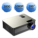 "720P Projector,Poner Saund M5 Video Projector,200"" Big Screen Multimedia Home Cinema Theater Projector,Support"