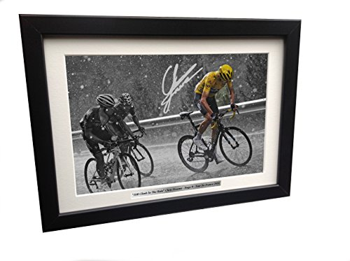 Chris Froome 12x8 A4 Signed Hill Climb in The Rain - Tour De France - Team Sky - Autographed Photo Photograph Picture Frame