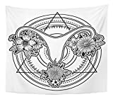 Emvency Tapestry Artwork Wall Hanging Beautiful Female Reproductive Organs with Flowers Uterus Womb Major Sex and My Body 50x60 Inches Tapestries Mattress Tablecloth Curtain Home Decor Print