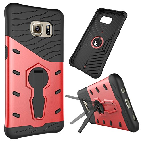 Price comparison product image Galaxy S7 Edge Case, TOODAY Heavy Duty Shockproof Dual Layer Hybrid Armor Defender Full Body Protective Cover With 360 Degree Rotating Kickstand Design for Samsung Galaxy S7 Edge (Red)