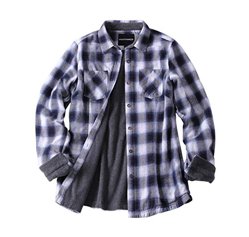 ZENTHACE Women's Thermal Fleece Lined Plaid Button Down Flannel Shirt Jacket Blue/White S