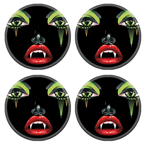 Female Vampire Makeup (Luxlady Natural Rubber Round Coasters IMAGE ID: 37401897 Abstract female vampire face with festival eye makeup and red lips)