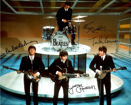 The Autographs Beatles - The Beatles early band signed reprint photo All 4 John Lennon