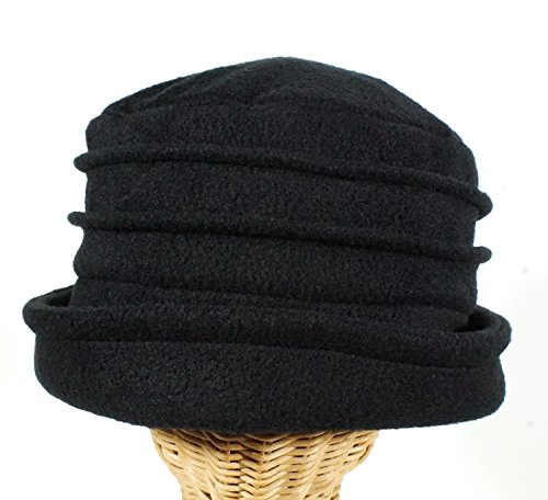 Fleece Pleated Turn up Hat Black made in Massachusetts