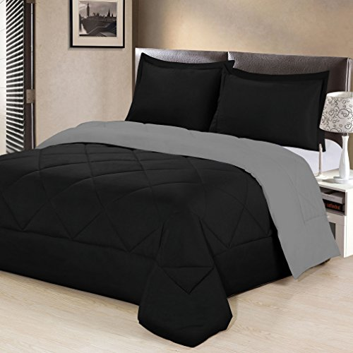 Aurora Bedding  3 Piece Reversible Luxurious Brushed Microfiber Goose Down Alternative Comforter Set with pillow Shams, Full/Queen, - Bedding Aurora