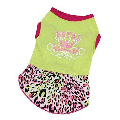 Dog Dress,Han Shi Cat Leopard Grain Skirt Pet Puppy Soft Costume Apparel Clothes (Green, (Costumes Leopard)