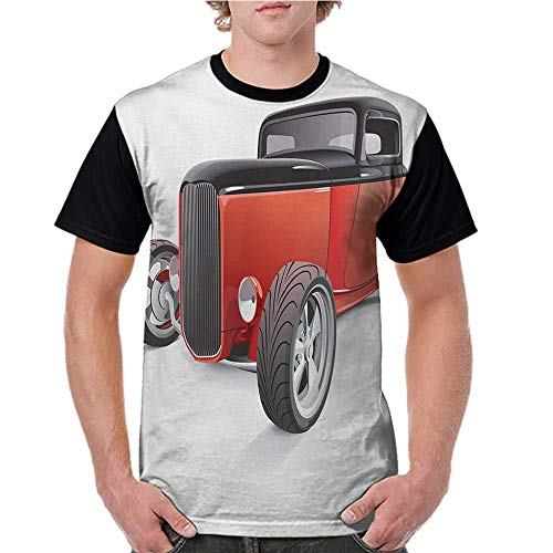 - Women T Shirts Fashion,Cars,Nostalgia Red Hot Rod American Culture Retro Revival Classics Collectors Car,Red Black White S-XXL Print Short Sleeve