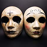 Grey Cross & GOD Horror Killer Purge Couple Mask,The Purge Anarchy Movie-Large