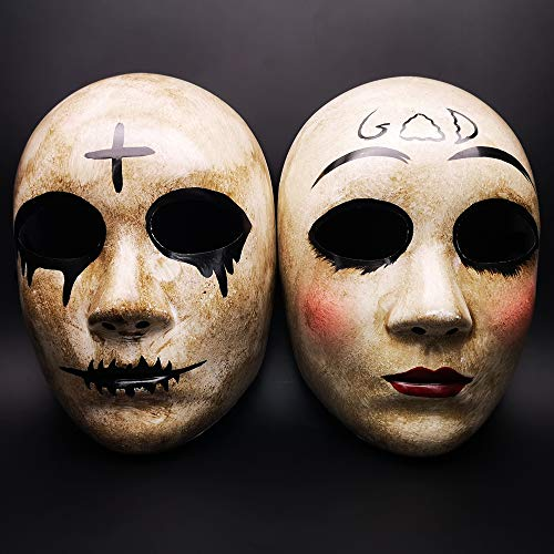 Grey Cross & GOD Horror Killer Purge mask Men,The Purge Anarchy Movie,Halloween Couple Mask,Masquerade Costume Party,Fits Most Adult Teens ... -