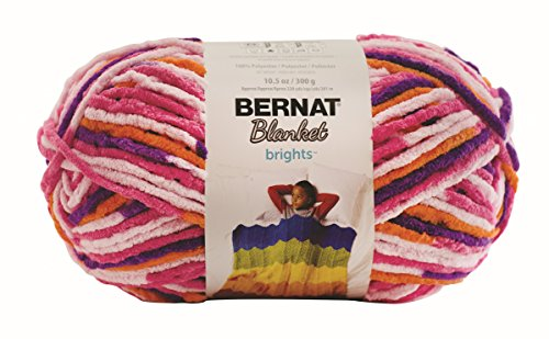 Bernat Blanket BrightsYarn - (6) Super Bulky Gauge  - 10.5 oz -  Rope Variegate  -  Machine Wash & - Crochet Bernat Patterns