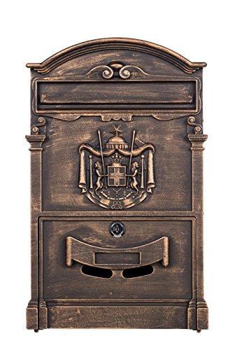 Antiker und sehr edler Briefkasten LB-001 Antik Bronze Wandbriefkasten, Briefkasten, Nostalgischer Englischer Briefkasten 41 cm hoch . Mit Befestigungsmaterial für die Wand. mit 2 Schlüsseln , Rostfrei