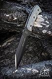 Tops Knives SJ626 Smoke Jumper Fixed Blade Knife with Black Linen Micarta Handles