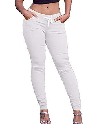 Femmes Casual Slim Fit Pantalons Skinny Stretch Taille Haute