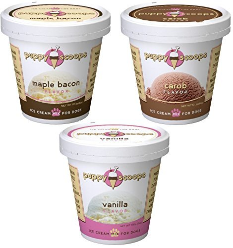Puppy Cake Puppy Scoops Ice Cream Mix - Variety Pack of 3, Includes: 1-Maple Bacon , 1-Carob, and 1-Vanilla Ice Cream Mix (Cream Ice Dogs)