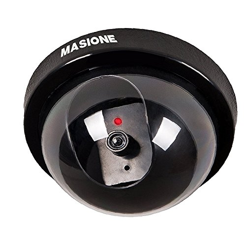 Masione Indoor Outdoor CCTV Fake Dummy Dome Security Camera with Flahsing RED LED Light