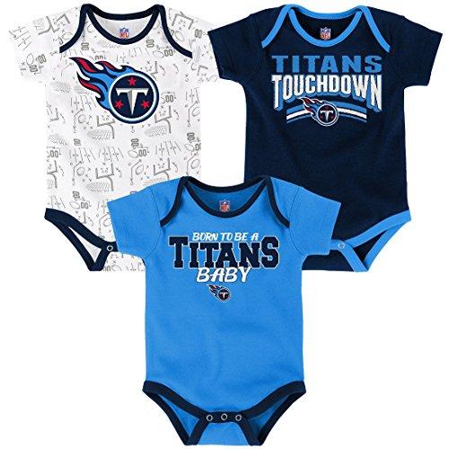 Outerstuff NFL Infant Playmaker 3 Piece Onesie Set-Dark Navy-18 Months, Tennessee Titans