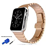 Apple Watch Band 42mm - Rose Gold Stainless Steel Link Bracelet and Butterfly Buckle Clasp by Palestrapro. iWatch Replacement Strap for Series 3 - 2 - 1. Classy and Fashionable Choice.
