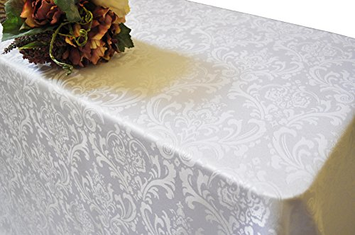 Wedding Linens Inc.. 90 Inch x 156 Inch Rectangular Jacquard Damask Polyester Tablecloths Table Cover Linens for Restaurant Kitchen Dining Wedding Party Banquet Events – White