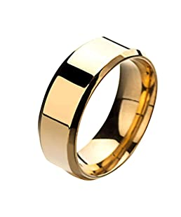 Wintefei Fashion Simple Unisex Lovers Stainless Steel Mirror Finger Rings Jewelry Gifts - Golden US 6