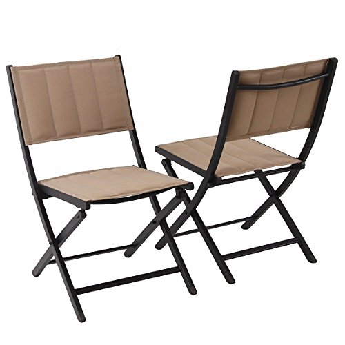 PHI VILLA Oversize Patio Folding Chairs Indoor Outdoor Portable Camping Dining Chairs, 2-Pack, Beige