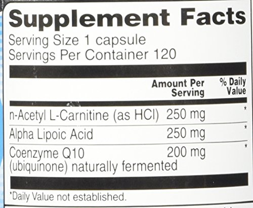 Vitacost Synergy Acetyl L Carnitine, Alpha Lipoic Acid & CoQ10 120 Capsules