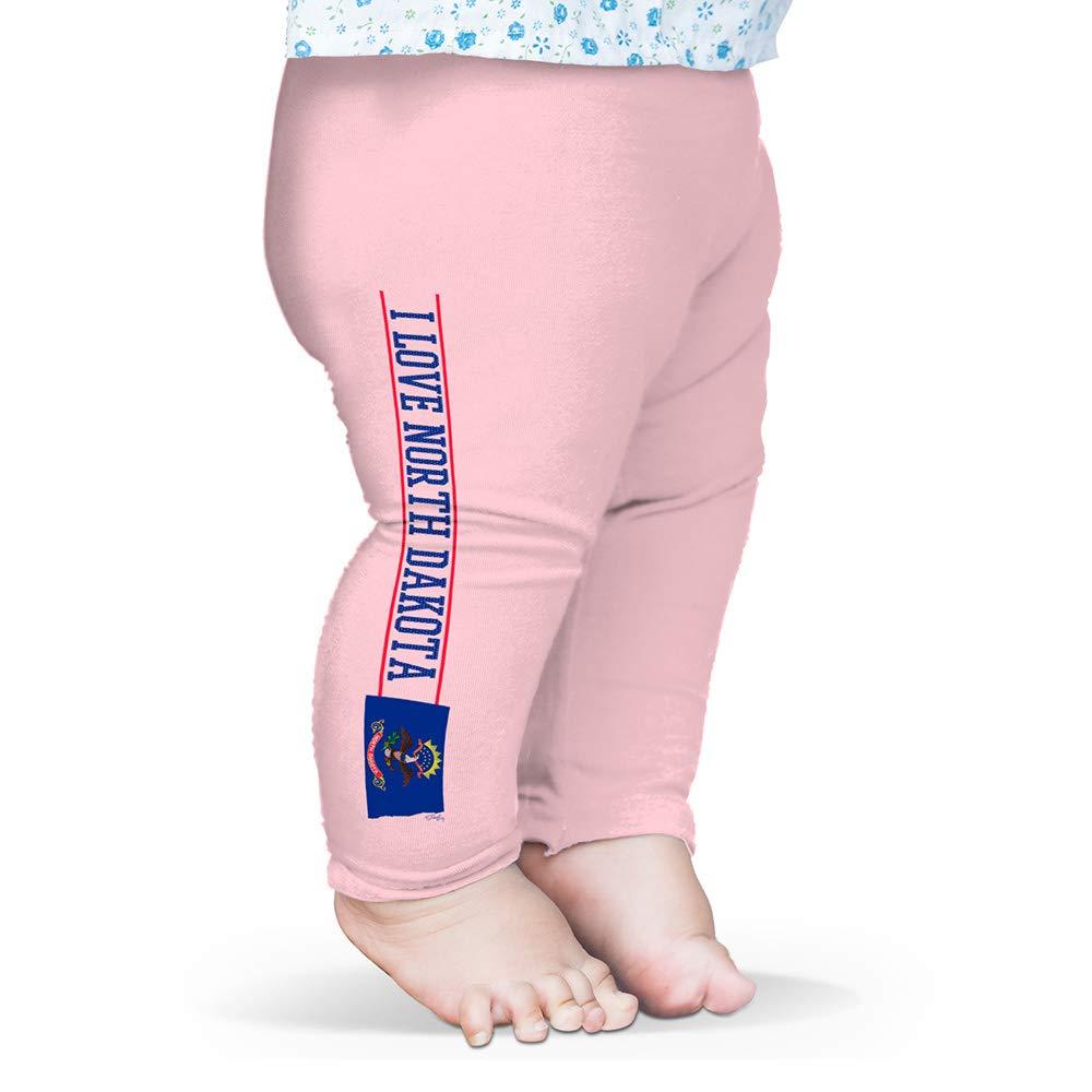 Twisted Envy Baby Leggings I Love North Dakota State Flag Baby and Toddler Girls Leggings