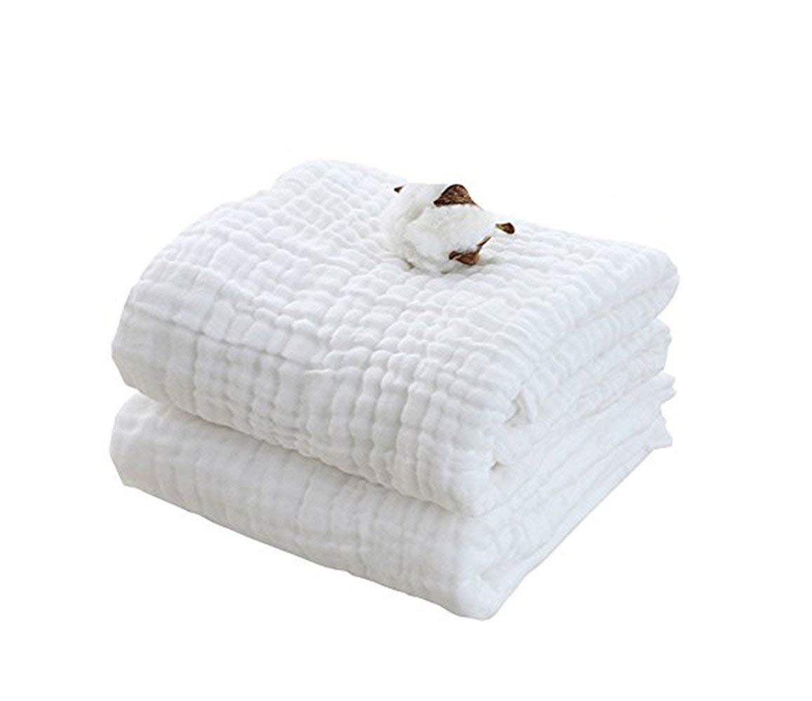 Baby Bath Towel/Baby Blanket Cotton, Super Soft Gauze, Natural Absorbent Muslin 6 Layer Warm 41.3 X 41.3 inch (2 Pack)
