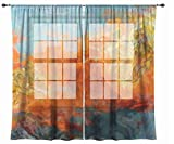 Abstract art sheer drapes, set with two 50''x84'' panels in orange, yellow and teal, Electric
