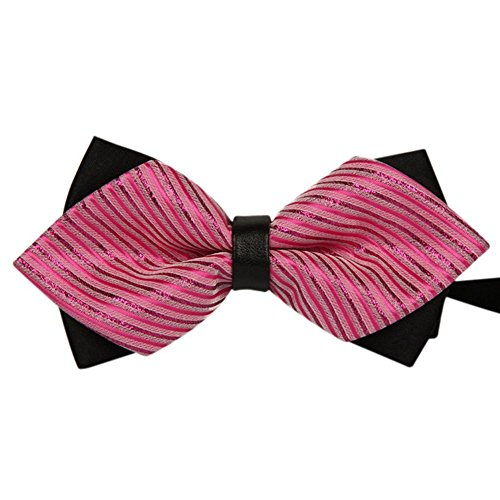 Pure Wedding Stripe Pre Westeng Jacquard Bowtie Polyester Tie Colors Party Tied Bow Various Rose Mens Pink 1pc Plain qwYqCxnEfP