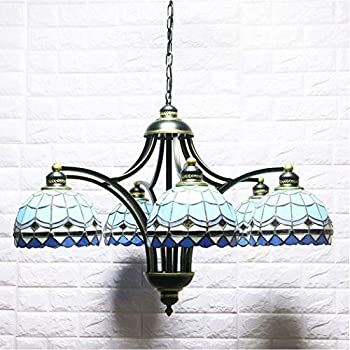YJFFAN Mediterranean Chandelier, Tiffany Pendant Lights Living Room Decoration Room Wrought Iron Hotel Engineering Lamp E27 (110-240V, Bulbs Not Included)