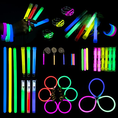 Fun Little Toys 24PCS Glow Sticks in The Dark Party Supplies Including Whistle, Earring, Teeth Braces, Ring Etc for Halloween Party Supplies