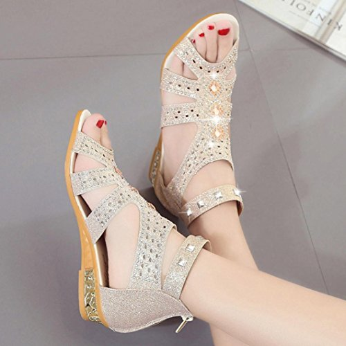 hunpta Roma Sandals, Spring Summer Ladies Women Wedge Sandals Fashion Fish Mouth Hollow Roma Shoes Beige