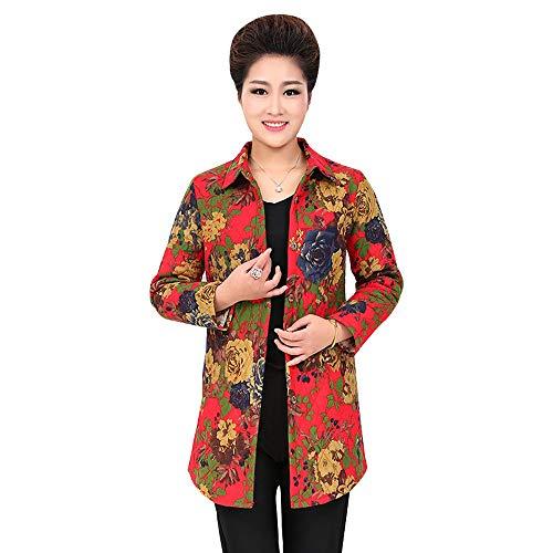 KINDOYO Womens Printing Long Coat - Elegant Long Sleeve Loose Floral Jacket Outwear Thicken Shirt Coat Red