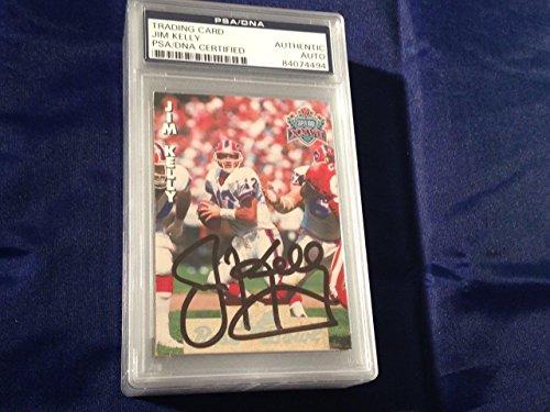 Jim Kelly Bills Hof Super Bowl Xxvii Autographed Signed Slabbed Card - PSA/DNA Certified - Football Slabbed Autographed Cards