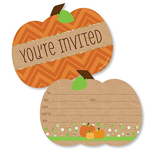 Fall Birthday Invitations (Big Dot of Happiness Pumpkin Patch - Shaped Fill-in Invitations - Fall or Halloween Party Invitation Cards with Envelopes - Set of)