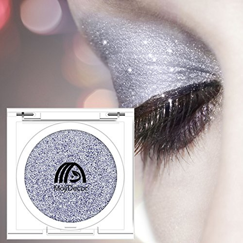 Grey Blue Glitter Eyeshadow Powder Waterproof, MojiDecor Beauty Makeup Cosmetic Eye Shadow Diamond Shiny Shimmer, Silky Smooth & Long Lasting
