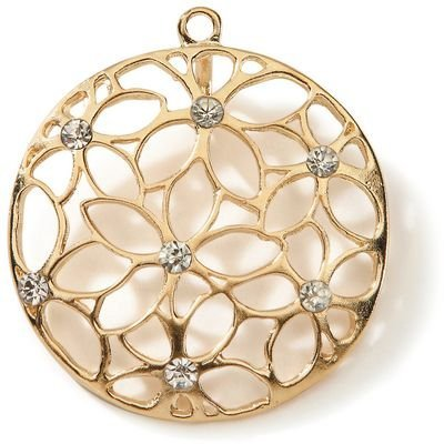 - Styled by Tori Spelling (TM) Open Work Rose Flower Pendant-Gold 1/Pkg
