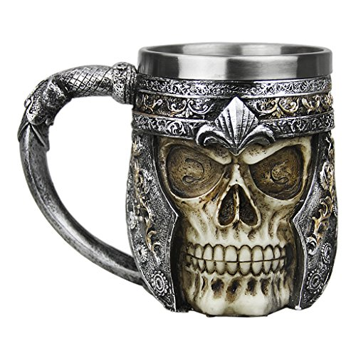 Cool Ossuary Style Skeleton Coffee Mug Drinkware Personalized Skull Cup Tankard Stainless Steel & Resin 3D Mugs for Tableware Costum Party Decor Collection Gift, 13oz