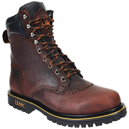 (CEBU Men's Tk Lacer Work Boot-Maroon-8.5 US)