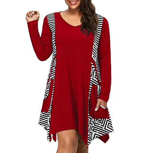 Femme Manches Mini V d'hiver Manches Longues EUZeo dcontracte Longues Robe Robe Dress Rouge col Robe asymtrique pour Braderie wIwSY7q