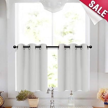 White Tier Curtains 24 inch Grommet Bathroom Window Curtain Tiers Room  Darkening Tiers Kitchen Windows Short Curtains Small Window, 2 Panels
