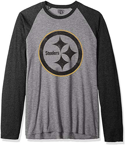 - NFL Pittsburgh Steelers Male OTS Triblend Raglan Tee Distressed, Vintage Grey, Large