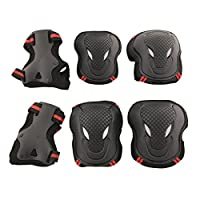 Allnice Alien 6 in 1 Thicken Skateboard Cycling Roller Skating Outdoor Sport Blading Elbow Knee Wrist Protective Gear Pads Safety Gear Pad Guard for Adult & Child Kid Use - Red+Black Color (L Size)