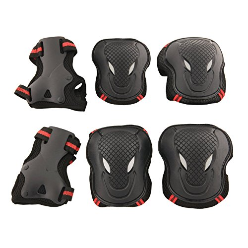 Allnice Alien 6 in 1 Thicken Skateboard Cycling Roller Skating Outdoor Sport Blading Elbow Knee Wrist Protective Gear Pads Safety Gear Pad Guard for Adult & Child Kid Use - Red+Black Color (M Size)
