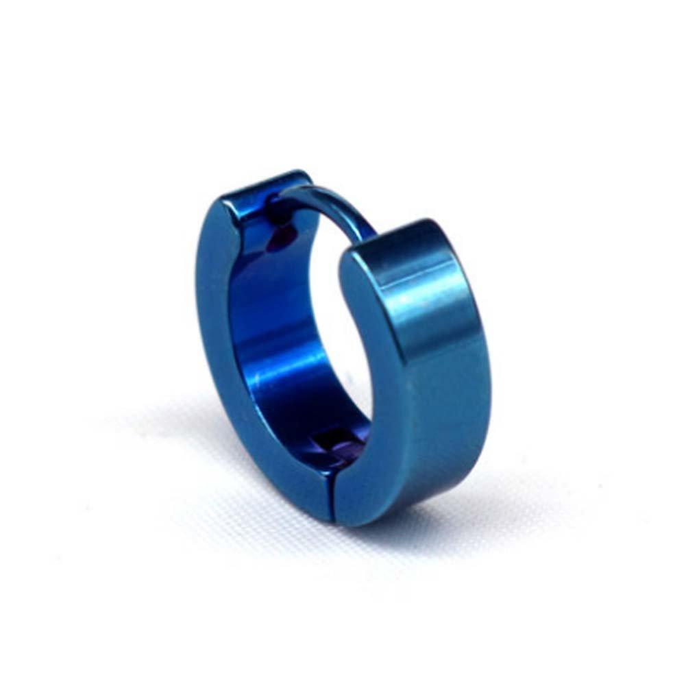 Men's Stud Earrings Titanium Steel Blue Hoop Earrings