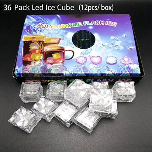 36 Pcs Waterproof Led Ice Cube Light Led Lighting Flashing Multi Color Liquid Sensor Lights for Bar Club Drinking Party Wine Wedding Decoration -
